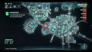 Месторасположение на карте, второй жертвы Риддлера на острове Миагани