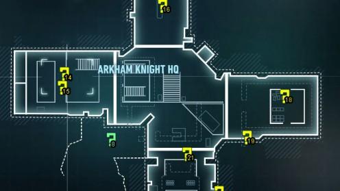 Карта Штаб-Квартиры Рыцаря Аркхема трофеи Риддлера