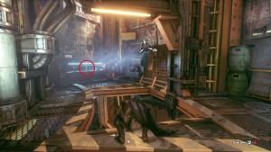 1. В верхней части туннеля, на столе в комнате управления.