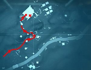Следуем по красной отметке на карте.
