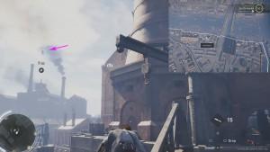Используя крюк, перелетите с крана на здание напротив