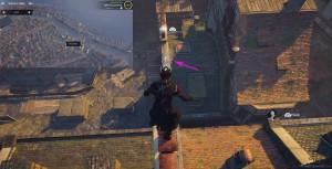 Зацепитесь крюком на трубу на крыше здания перед вами