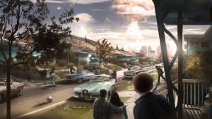 Ядерный взрыв в небольшом городке - Fallout 4.