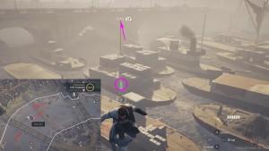 Перелетите над лодками, зацепившись крюком за указанную точку