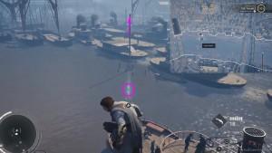 Перелетите с помощью крюка на указанную точку