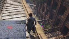 Перепрыгните с деревянного мостика на деревянную балку