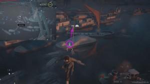 С помощью крюка перелетите над водой с палки на палку