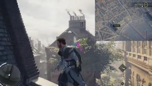 С помощью крюка зацепитесь за указанную точку на здании напротив