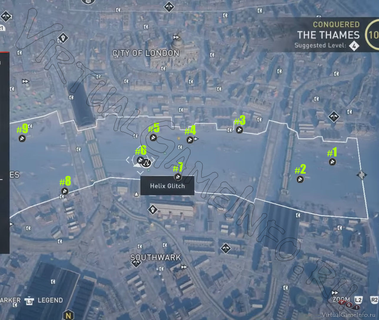 Карта Аномалий Helix / Хеликс в районе Темза часть 1