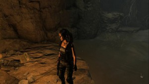 На выступе в углу пещеры