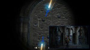 Подходим к кресту посередине, сопоставляем лучи с отверстиями в стене.