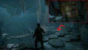 Спуститесь вниз, там вы найдете небольшую пещерку в которой лежит сокровище.