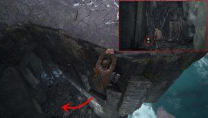 Спрыгнув вниз и забравшись в пещеру вы найдете сокровище.