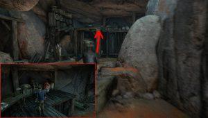 Внутри пещеры лезем наверх по деревянной конструкции. Там вы найдете сокровище.