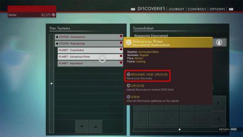 Изменять названия системам и планетам в No Man's Sky
